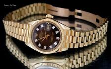 LADIES ROLEX 6917 DAEJUST PRESIDENT 18K Y.GOLD DIAMOND BROWN VIGNETTE DIAL
