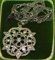 "Vintage Napier Silver Tone White Rhinestone Flower Pendant 16"" Necklace 12e 58"