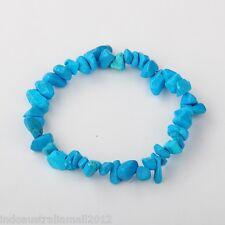 Howlite Deep Sky Blue Gemstone Chip  Stretch Bracelet (JB01308-06)