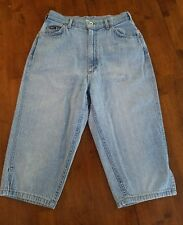 VTG LEE WOMEN'S ACID WASH HIGH WAIST CAPRI JEANS. SZ 11. EMBROIDERED ACCENTS.
