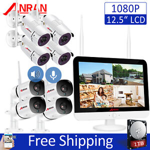 "ANRAN 8CH Wireless Security Camera System Outdoor CCTV w/ 12"" Monitor Audio 1TB"