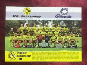 Mannschaftskarte BORUSSIA DORTMUND-Deutscher Meister 1996-95/96-Riedle/Möller-AK