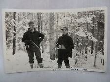 VINTAGE REAL PHOTO POSTCARD HUNTERS WITH GUNS IN THE SNOW TOMAH MAINE 1938