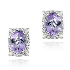 Rhodium Plated 6.2ct Amethyst & CZ Oval Earrings