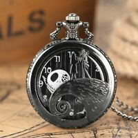 Pocket Watch Nightmare Before Christmas Jack Skellington Tim Burton Black Quartz
