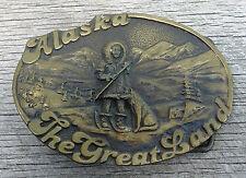 Alaska The Great Land Eskimo Dog Vintage Belt Buckle