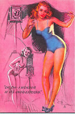 """Artist K Munson Pin Up Camera """"Oh Oh I Wonder If It's Over-Exposed"""" Blotter"""