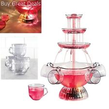 Vintage Collection 3 Tier Tower Lighted Party Fountain Beverage Punch Set Cups