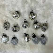 12 Vintage Style Kugels Silver Mercury Glass Mini Christmas Ornaments New A