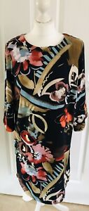 M&S womens clothes size 12 Floral Shift/ Tunic Dress Vibrant Autumn Winter Work