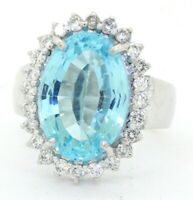 Heavy 18K WG 13.52CT diamond & 17 x 12mm Blue topaz cocktail ring size 8.5