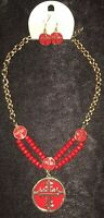 Necklace Earring Set Gold/ Red Beads