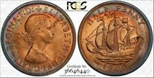 1960 GREAT BRITAIN HALF PENNY PCGS MS64RB COLOR TONED COIN IN HIGH GRADE