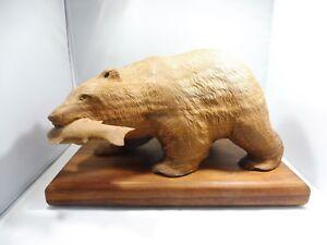 FOLK ART HAND CARVED WOOD BEAR SIGNED MASA POSSIBLY NORTHWEST CULTURE