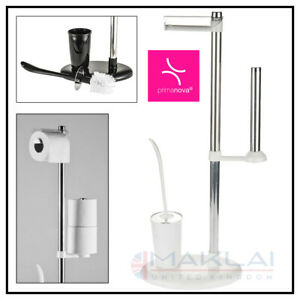 White & Silver Free Standing TOILET BRUSH Paper ROLL HOLDER STAND Bathroom Set