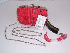 Sasha Coral Satin Pleated Handbag Evening Bag New with Tags Detachable Chain