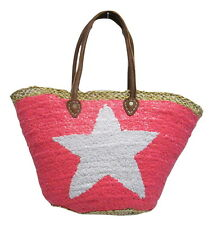 French Market Basket Sparkling Sequin & Leather Bag Star Pink & White