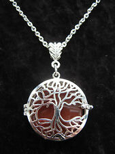 Caged Carnelian Gemstone Tree of Life Pendant Yggdrasil Pagan Wiccan Hedgewitch