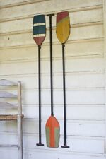 Set Of 3 Wooden Boat Paddles Wall Art Decor Beach Coastal Nautical Lake Oars 60""