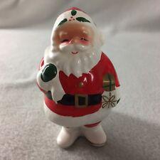 "Vintage Napco Santa With Bag Pillar Candle Holder Ceramic 3 1/2"" Tall # 6544"