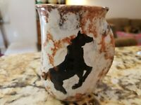 "Vintage NEHER Studio Art Horse Pottery  3.5"" Coffee Mug Clay Motion Series 2010"