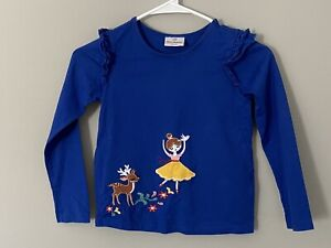Hanna Andersson Girl Blue Dancer Reindeer Holiday Shirt Size 120 6-7