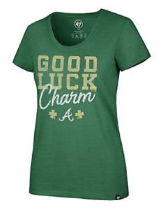 NEW '47 Atlanta Braves Women's St. Patty's Day Good Luck Charm Club Tee Large