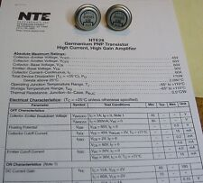 NOS Delco Pair Ge PNP POWER TRANSISTOR 2N1523 TO39 Copy Data  BVceo 45V, Ic 60A