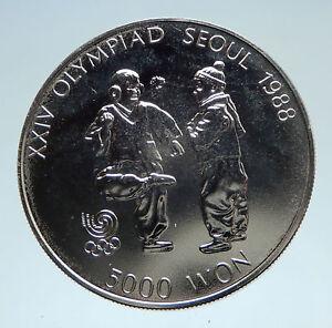 1987 SOUTH KOREA Seoul OLYMPIC GAMES Chengi Kicking Proof Silver Coin i75183