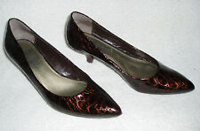 FRANCO SARTO Leather 'L-Fall' Croc Patent High Heel Shoes~Brown~Size 6.5 M