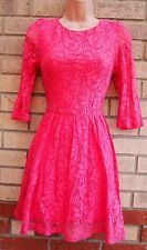 TOPSHOP FLORAL PINK LACE FLIPPY FULL SKATER PROM BOHEMIAN RARE TEA DRESS 10 S