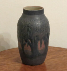 Newcomb College Art Pottery Blue Spanish Moss Vase ~ Simpson/J. Hunt