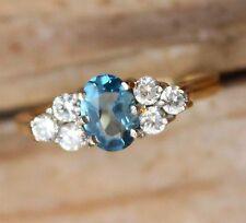 9ct Gold Ring Jewellery Blue Topaz CZ Jewelry Ladies 9K 9 Carat Cubic Zirconia