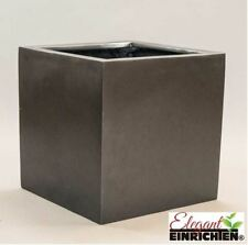 Pflanzkübel Blumenkübel Übertopf Fiberglas quadratisch 70x70x70cm perlmutt weiß.