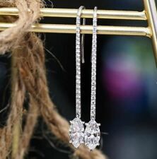 4Ct Marquise Cut White Moissanite Drop/Dangle Earrings 925 Sterling Silver