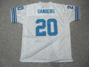 BARRY SANDERS Unsigned Custom Detroit White Sewn New Football Jersey Sizes S-3XL