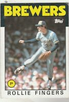 FREE SHIPPING-NRMINT TO VG-1986 Topps #185 Rollie Fingers Brewers + BONUS CARDS