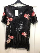 Zara Women Black Sequin Floral Embroidered Dress Size L