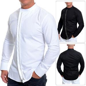 Men's Asymmetric Shirt Grandad Collar Long Sleeve Metal Zip Coton Slim Fit M-3XL