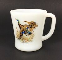 Fire King Mallard Duck Coffee Mug Cup Milk Glass D Handle Vtg Anchor Hocking