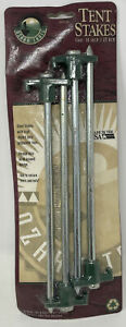 """Steel Tent Stakes with Poly Propylene Tops 10"""" Long 4 Pieces Sealed Ozark Trail"""