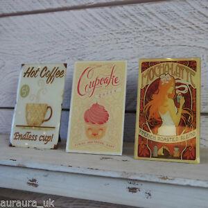 Retro Cafe Kaffee Geschäft Creme Glas Plakette Hot Mokka Latte Cupcake Zeichen