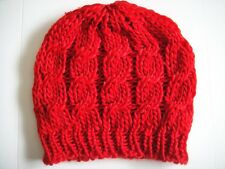 Women's Red Wool Cable Knit Beanie - Hand Knitted Beanie by U-Neek Style