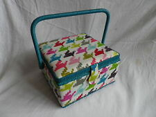 LUXURY SQUARE MULTI COLOURED FABRIC SEWING BASKET / WORK BOX. NEW