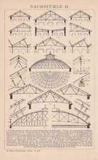 Dachstuhl Dachstühle Dachdecker Zimmermann STICH um 1900 Satteldach Pultdach