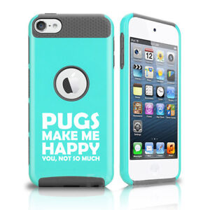 For Apple iPod Touch 5th 6th Shockproof Hard Case Cover Pugs Make Me Happy