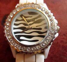 Geneva Crystal Silicone Wrist Watch White  Zebra Face Rhinestone DEAD BATTERY