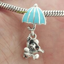 925 Sterling Silver  Disne Jiminy Cricket Dangle Charm Blue Enamel Fit Bracelet