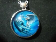 Dragon And Angel Photo Tibet Silver Cabochon Glass Pendant Chain Necklace