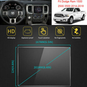 "For Dodge Ram 1500 2500 3500 2014-2018 Vehicle GPS Screen Protectors Films  8.4"""